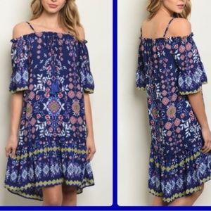 NEW * BOHO Cold Shoulder DRESS o' True Blue Joy